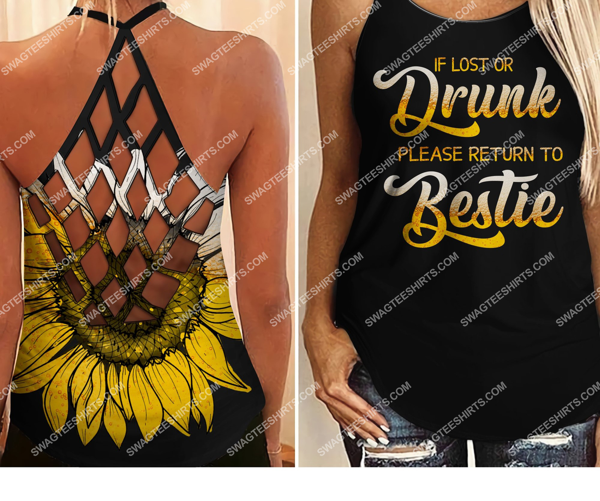 if lost or drunk please return to bestie all over printed strappy back tank top 2 - Copy (2)