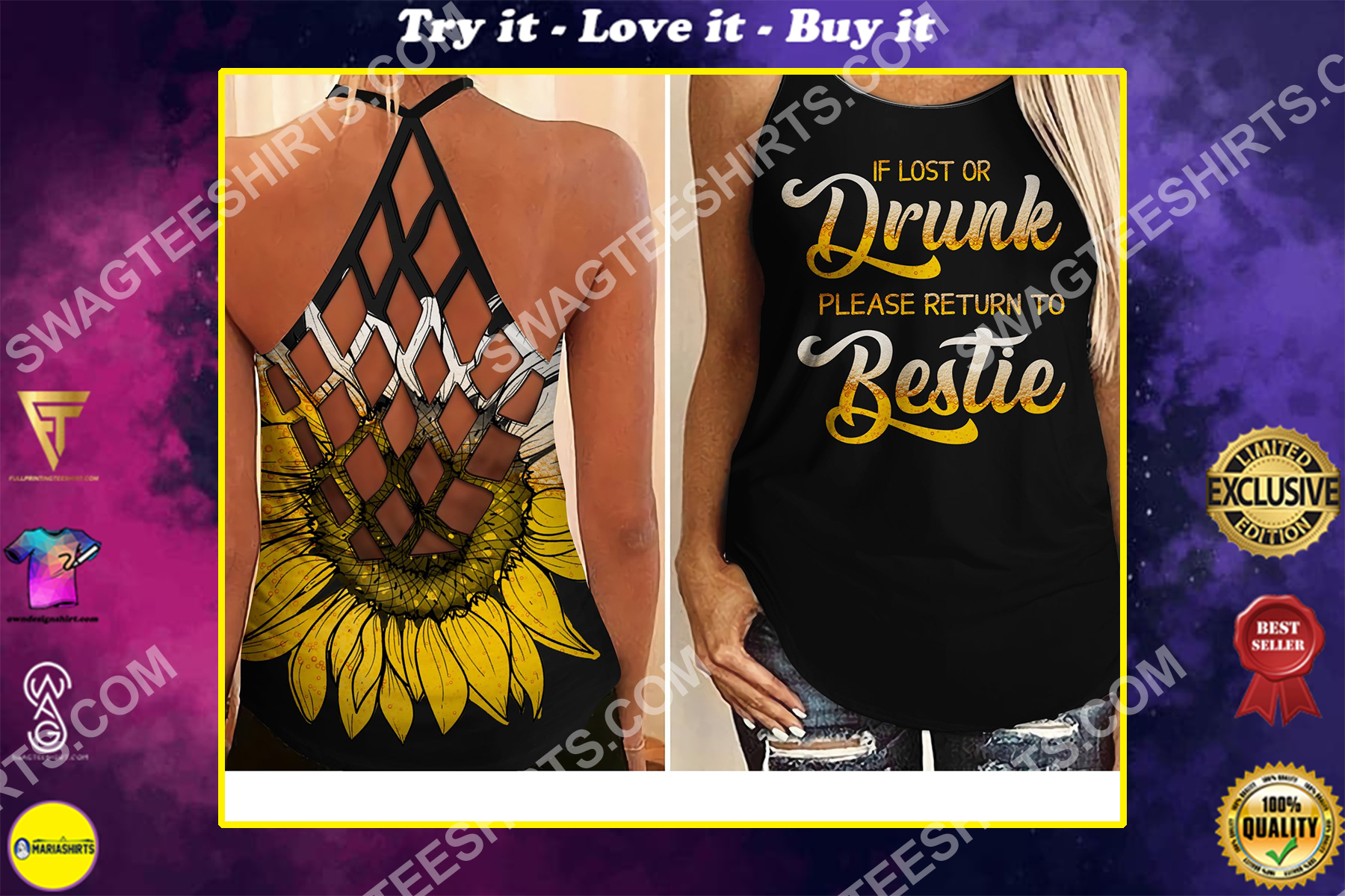 if lost or drunk please return to bestie all over printed strappy back tank top