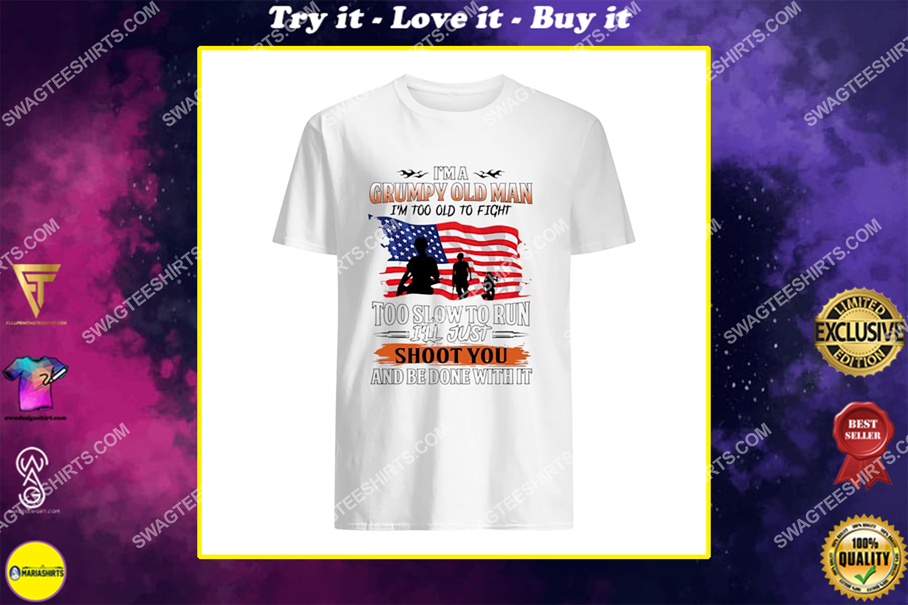 i'm a grumpy old man too old to fight too slow to run for memorial day shirt