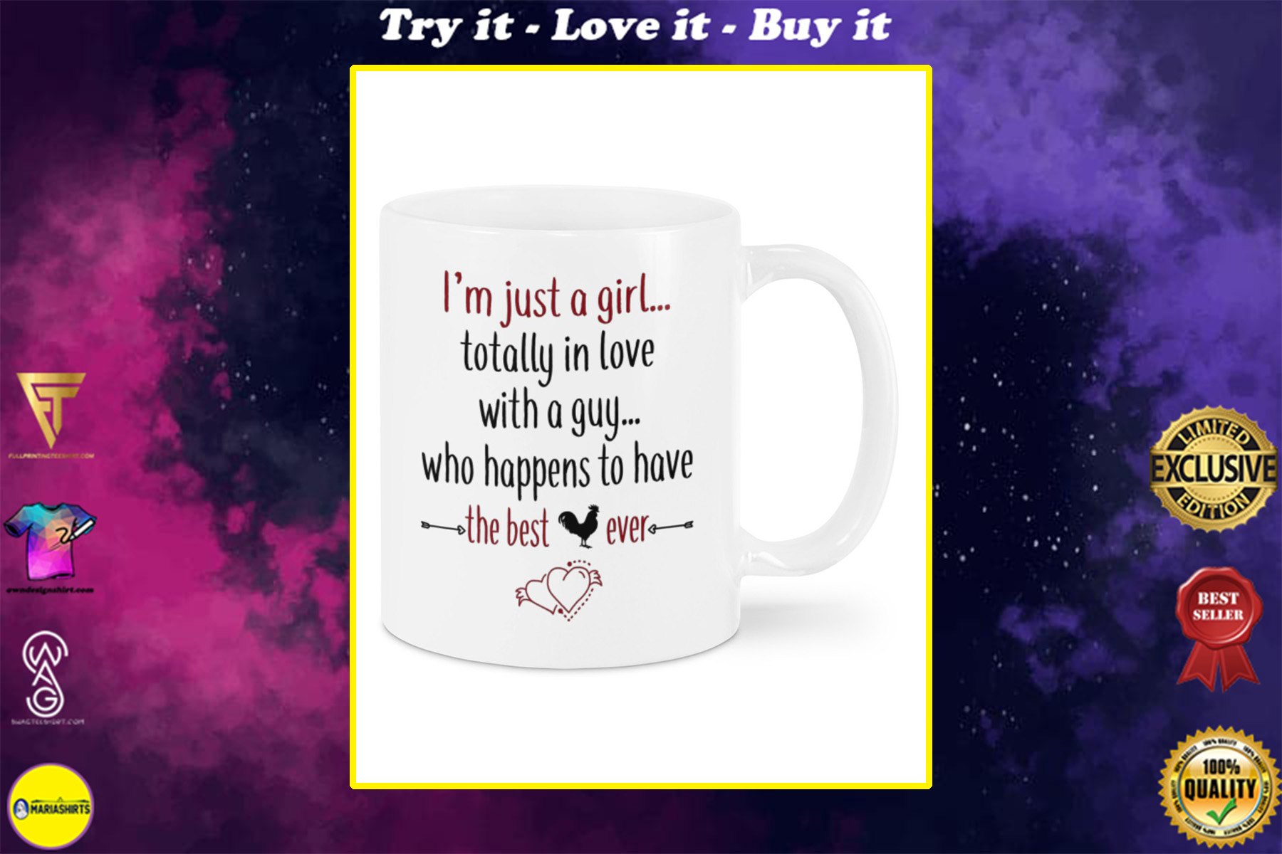 im just a girl totally in love with a guy who happens to have have the best cock ever happy valentine's day mug