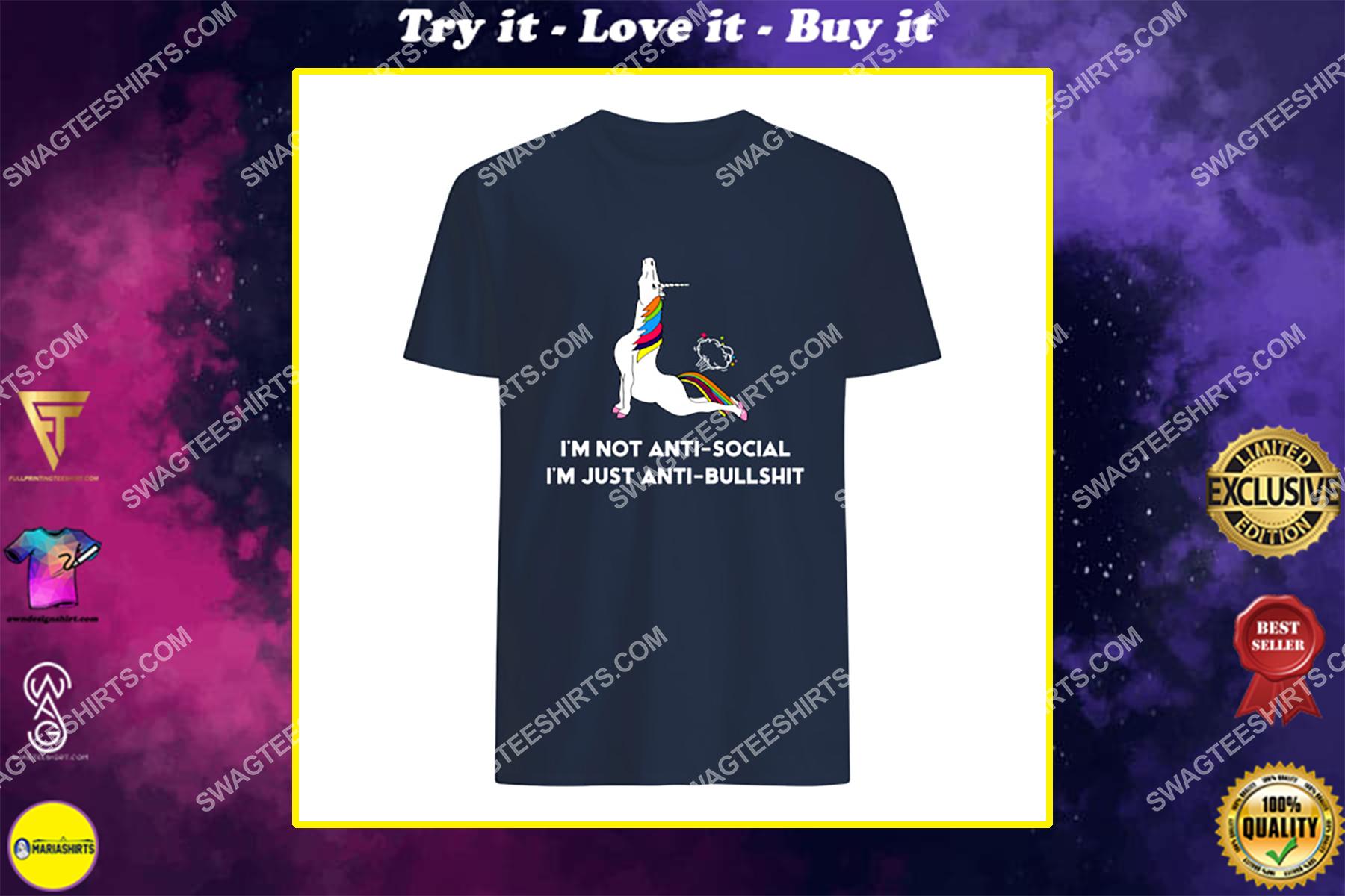 i'm not anti social i'm just anti bullshit unicorn social distance shirt