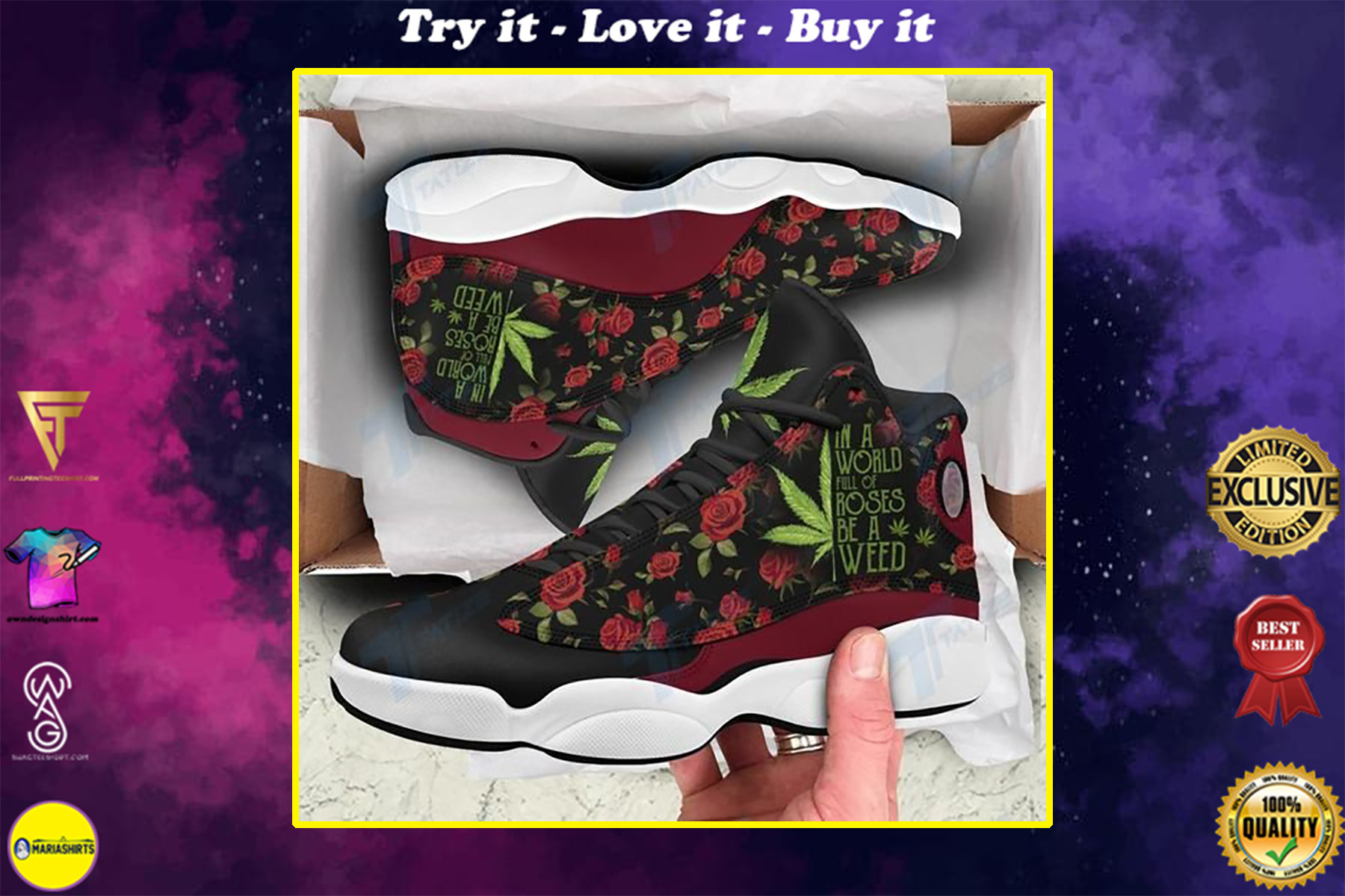 in a world full of rose be a weed all over printed air jordan 13 sneakers
