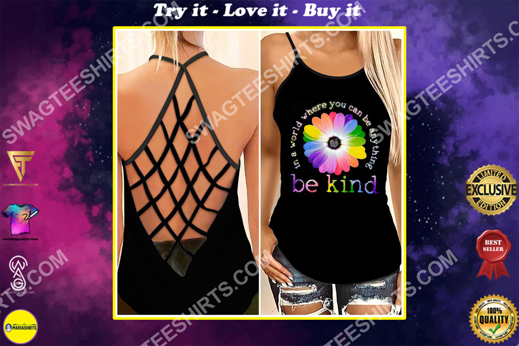 in a world where you can be anything be kind strappy back tank top