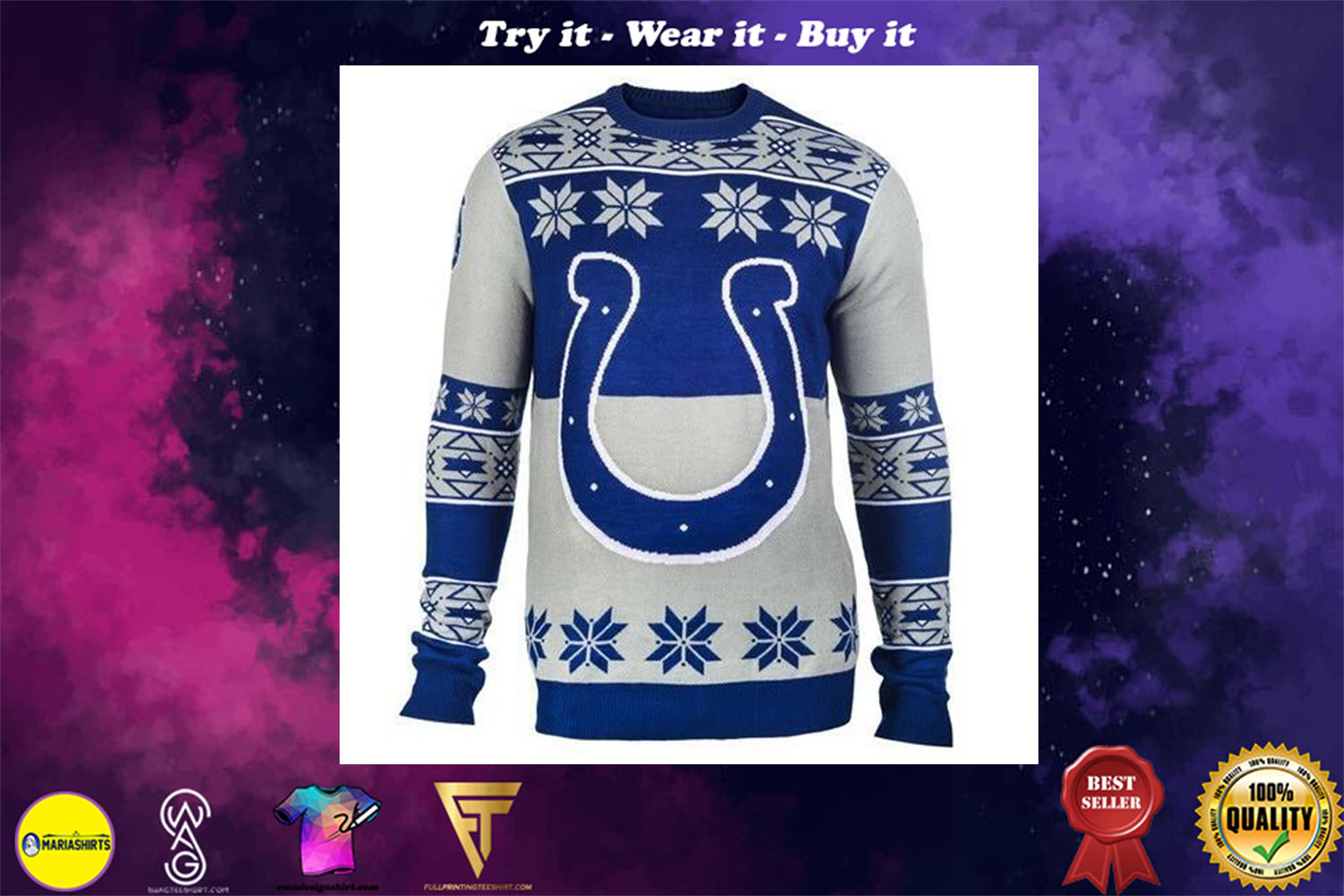 indianapolis colts holiday ugly christmas sweater