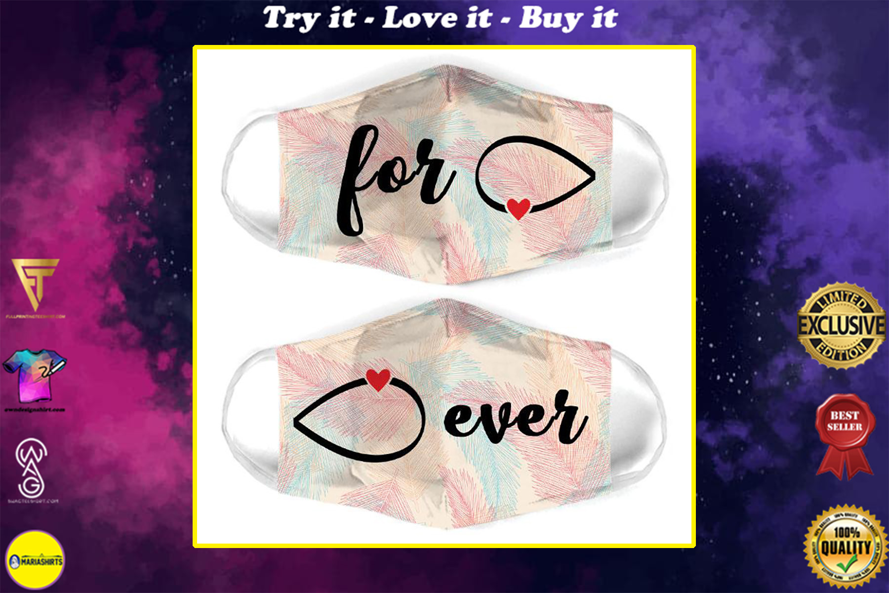 infinity symbol for couple love all over print face mask