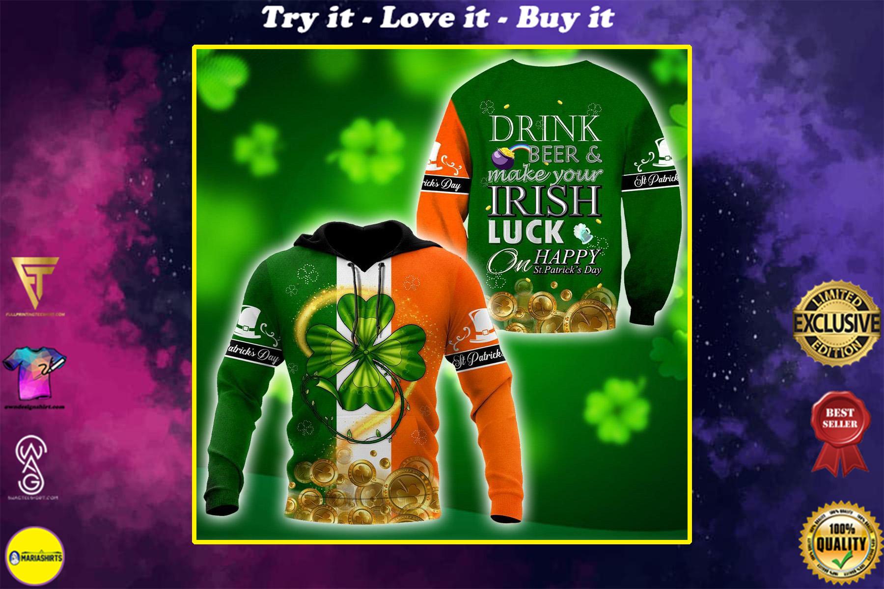 ireland flag saint patricks day shamrock all over print shirt