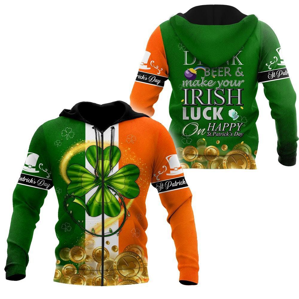 ireland flag saint patricks day shamrock all over print zip hoodie