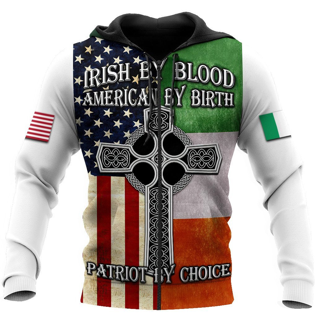 irish by blood american by birth patriot by choice full printing zip hoodie
