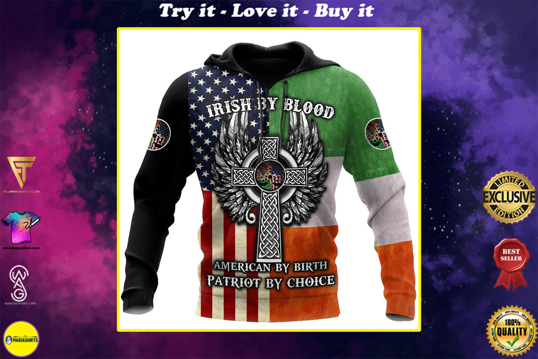 irish by blood american by birth patriot by choice the celtic cross shirt