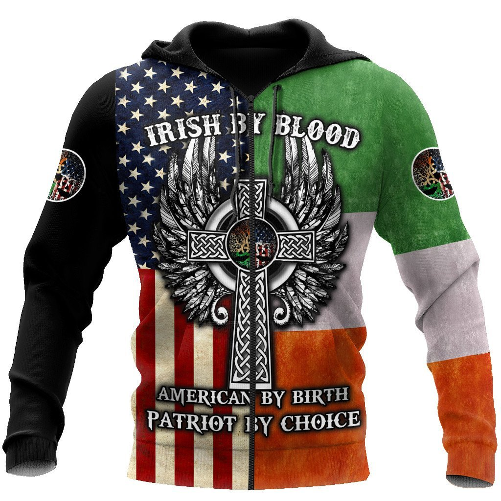 irish by blood american by birth patriot by choice the celtic cross zip hoodie