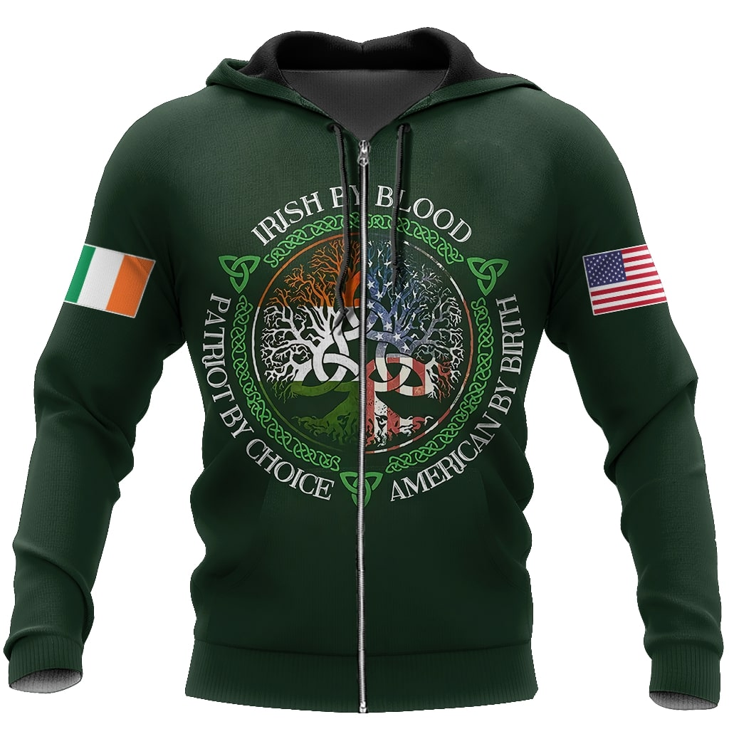 irish by blood american by birth patriot by choice tree of life all over printed zip hoodie