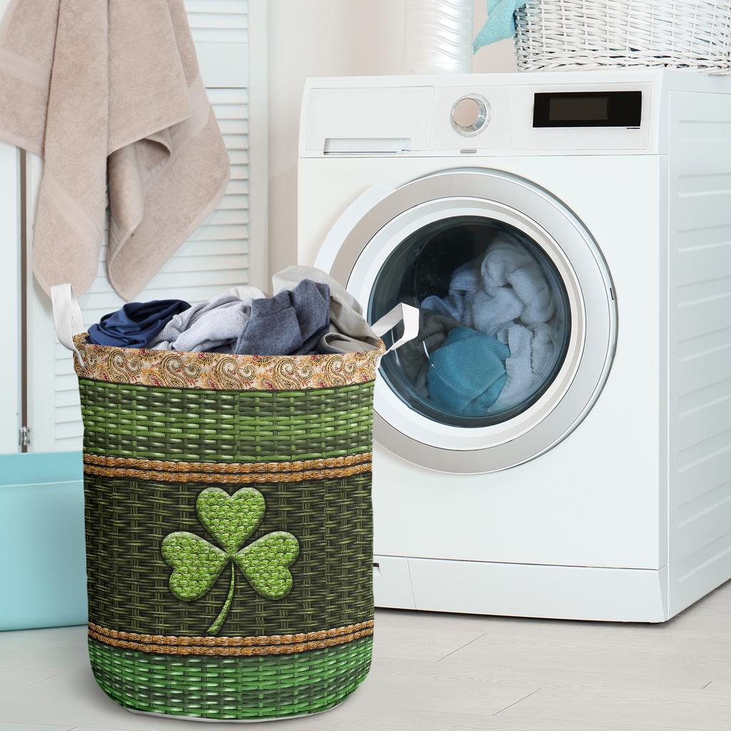 irish wood border all over printed laundry basket 2