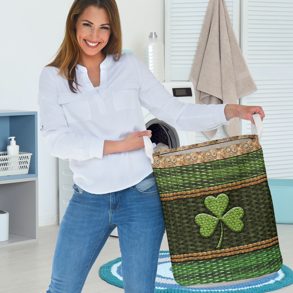 irish wood border all over printed laundry basket 3