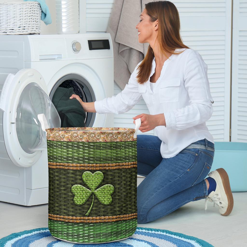 irish wood border all over printed laundry basket 4