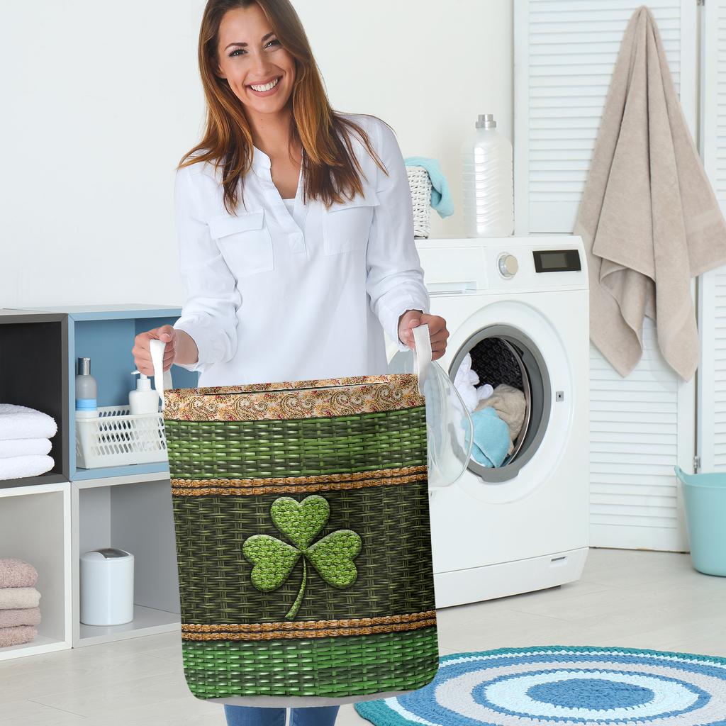 irish wood border all over printed laundry basket 5