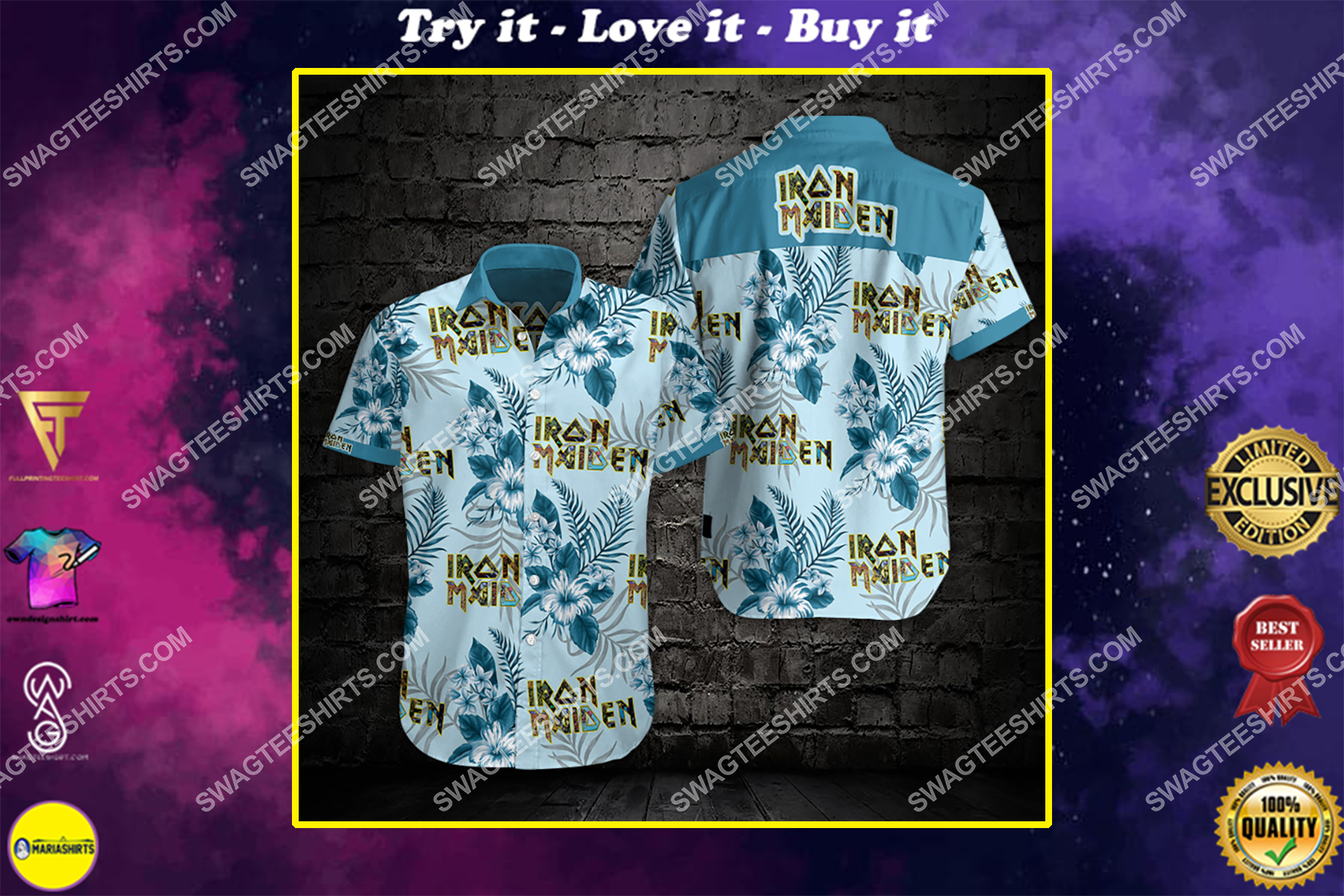 iron maiden band all over print hawaiian shirt