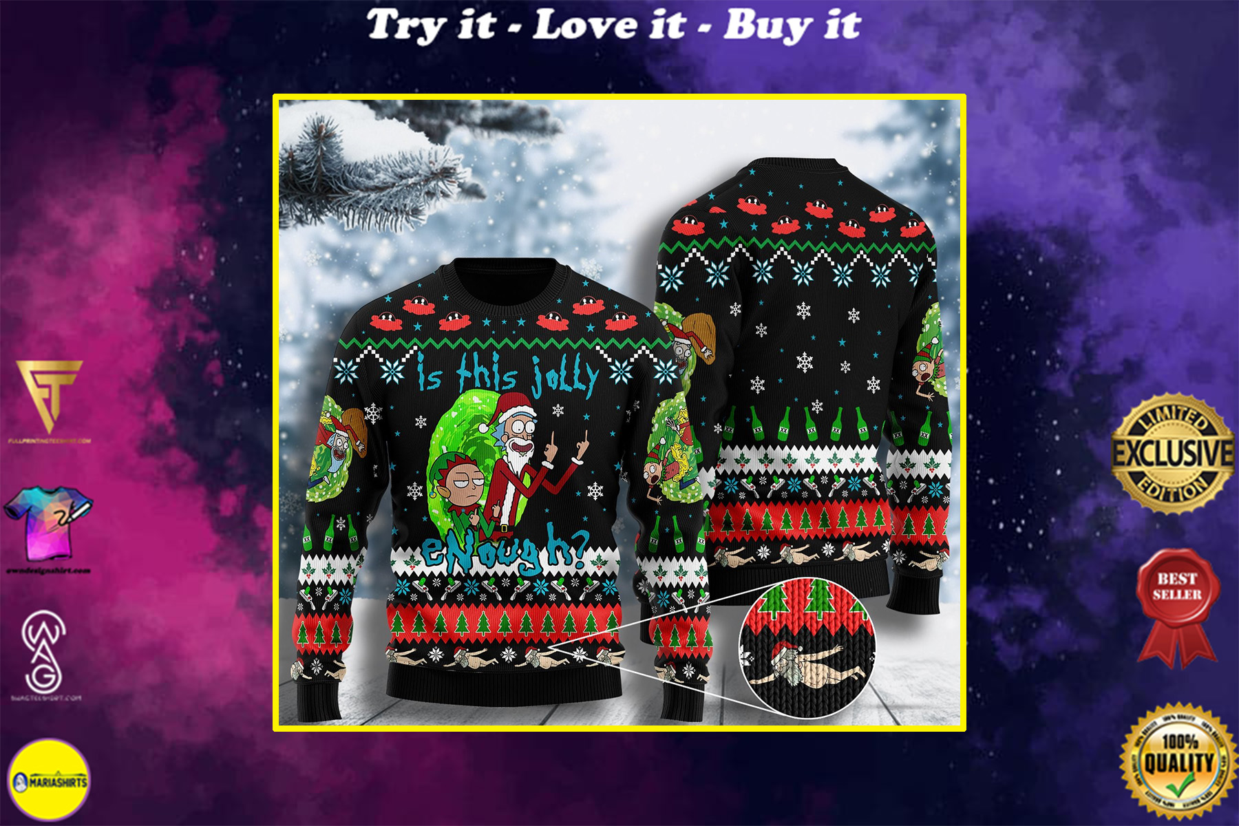 is this jolly enough rick and morty ugly christmas sweater