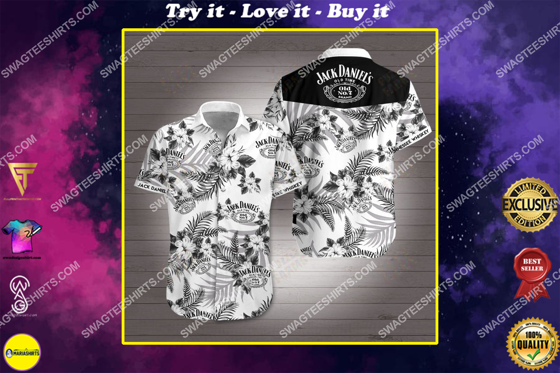 jack daniels old time all over print hawaiian shirt