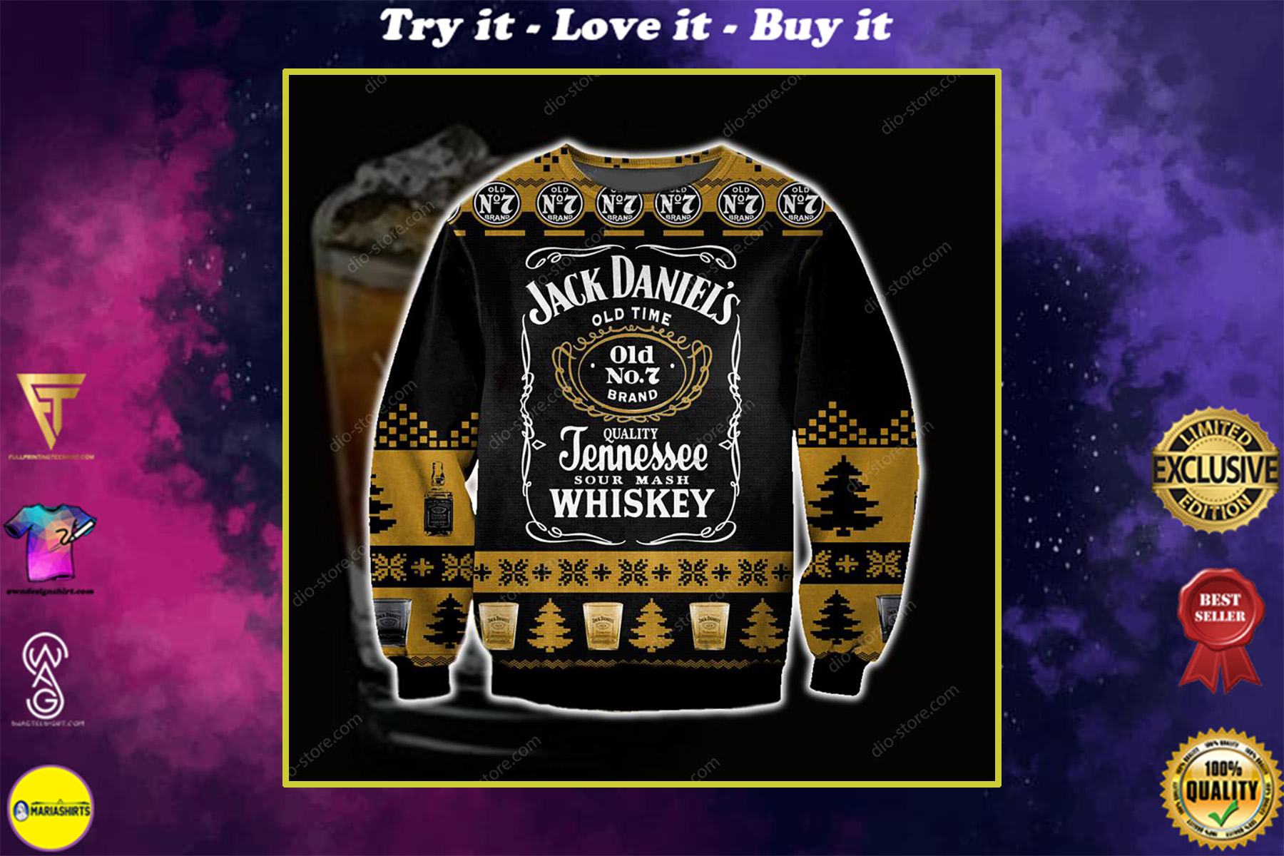 jack daniels tennessee whiskey full printing ugly christmas sweater