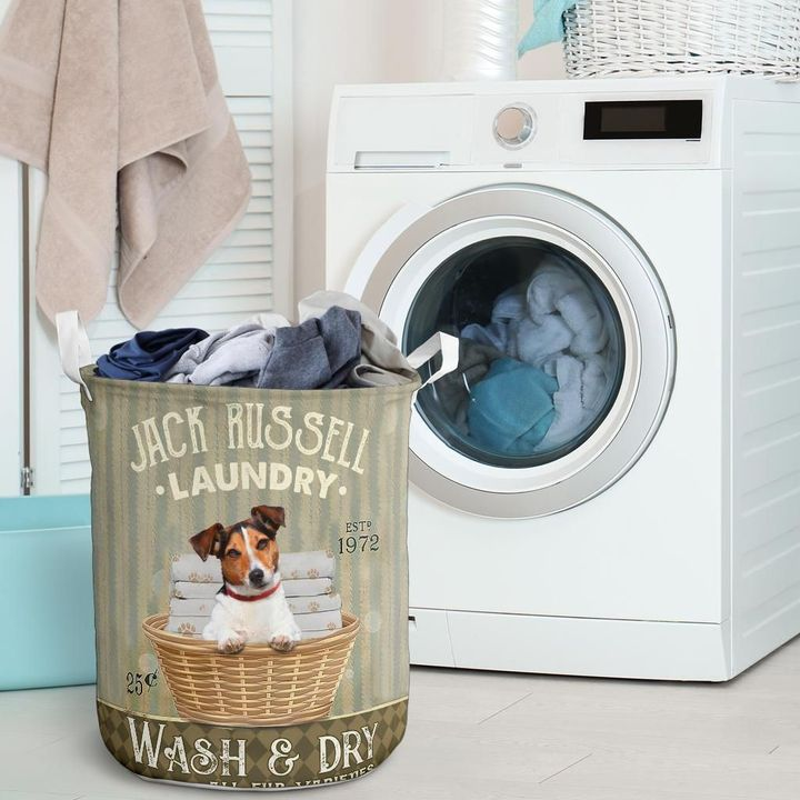 jack russell wash and dry all over printed laundry basket 2