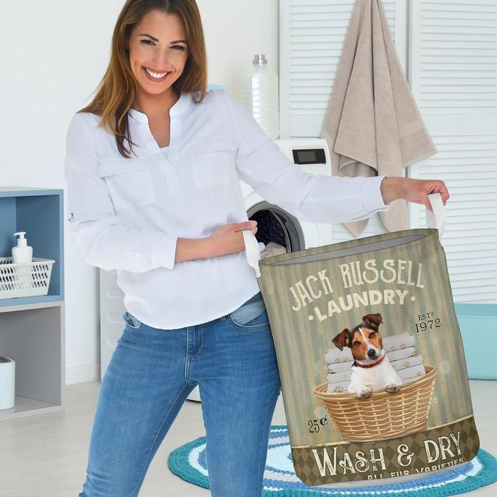 jack russell wash and dry all over printed laundry basket 3