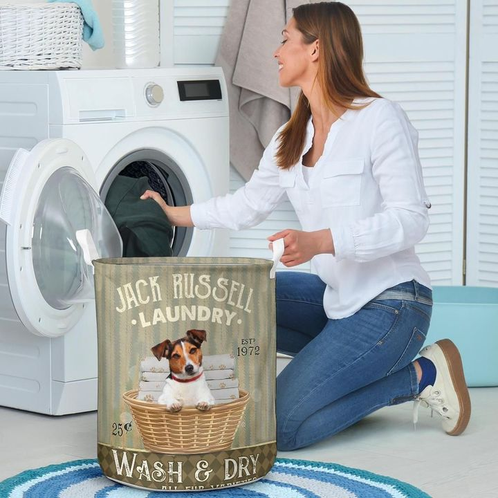jack russell wash and dry all over printed laundry basket 4