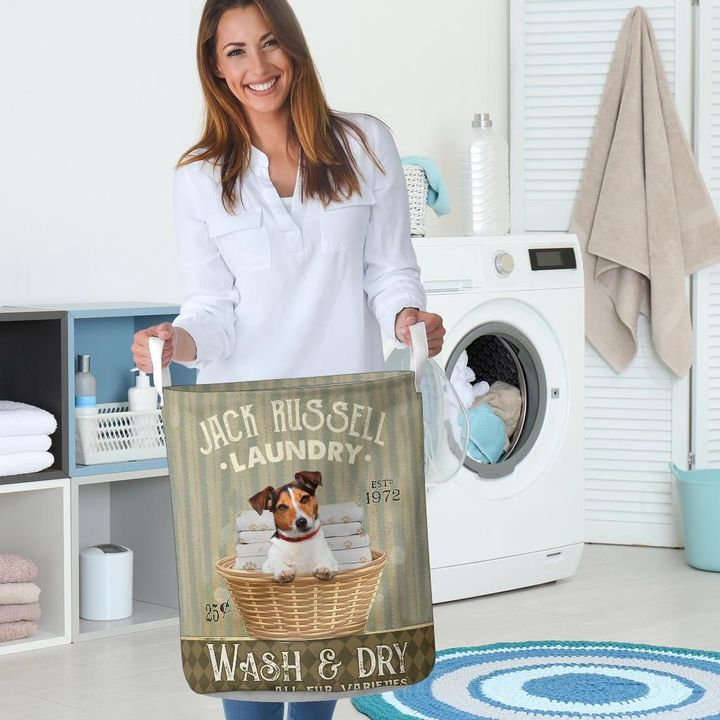 jack russell wash and dry all over printed laundry basket 5