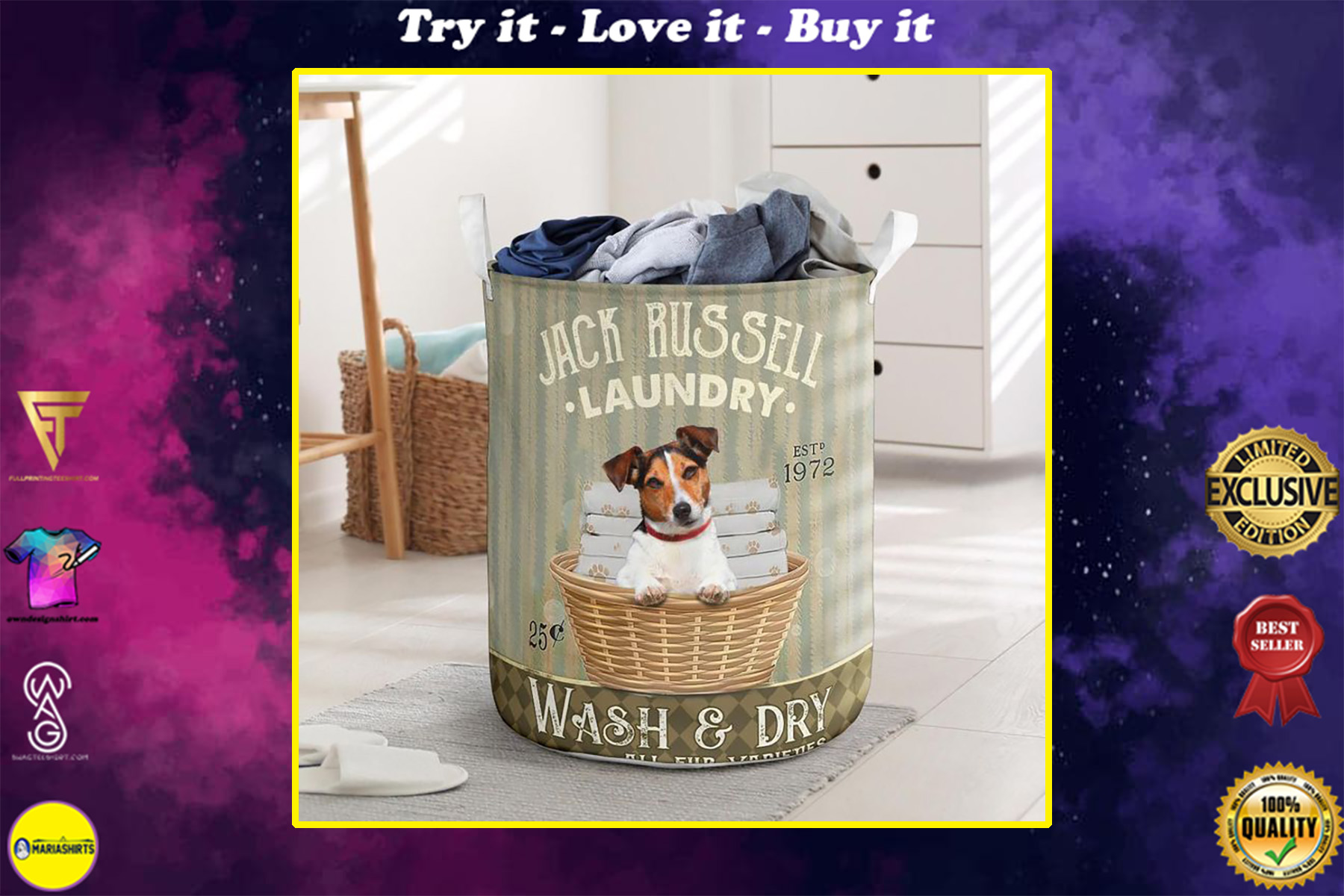 jack russell wash and dry all over printed laundry basket