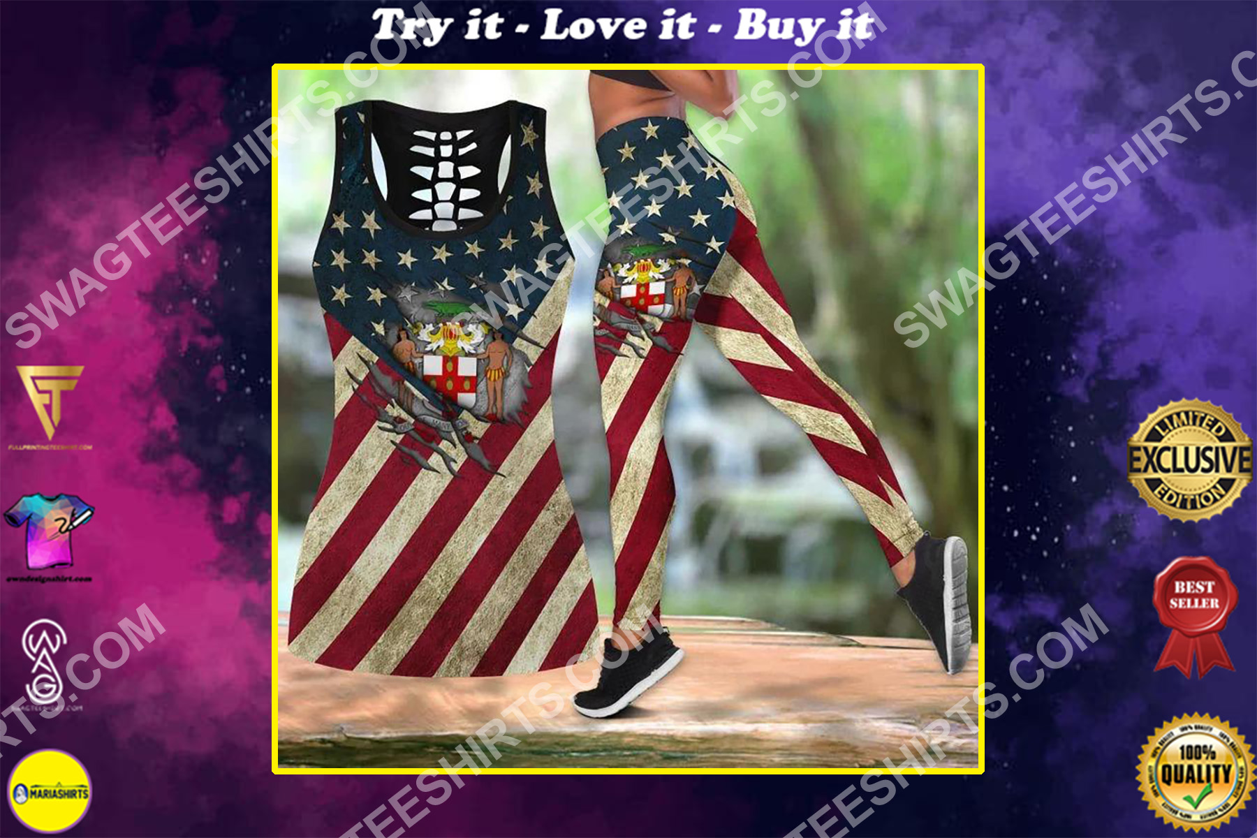 jamaica and america flag all over printed set sports outfit