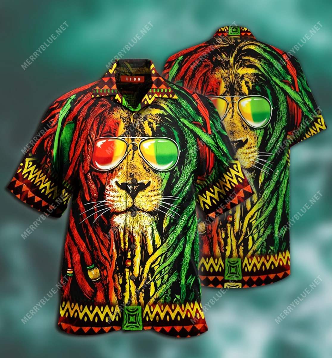 jamaica lion tropical all over printed hawaiian shirt 3
