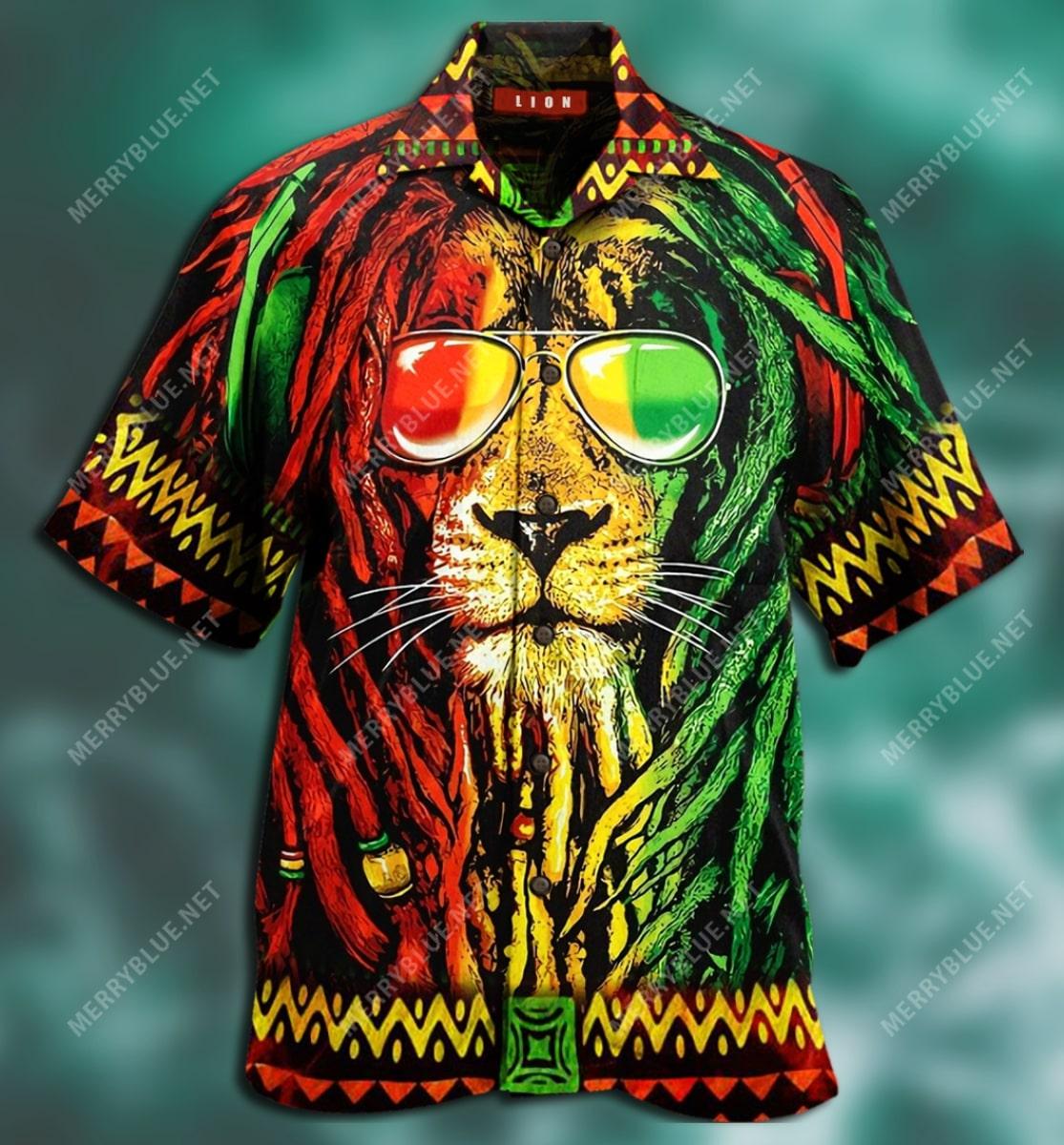 jamaica lion tropical all over printed hawaiian shirt 4