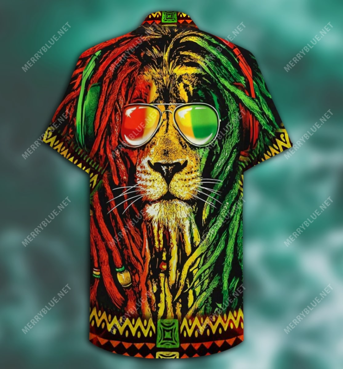 jamaica lion tropical all over printed hawaiian shirt 5