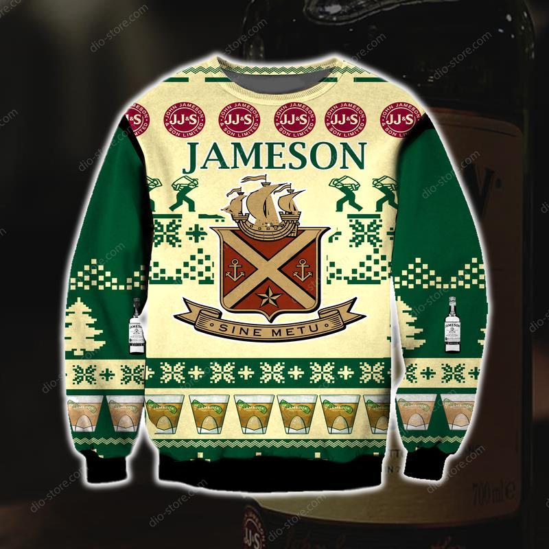 jameson irish whiskey full printing ugly christmas sweater 3