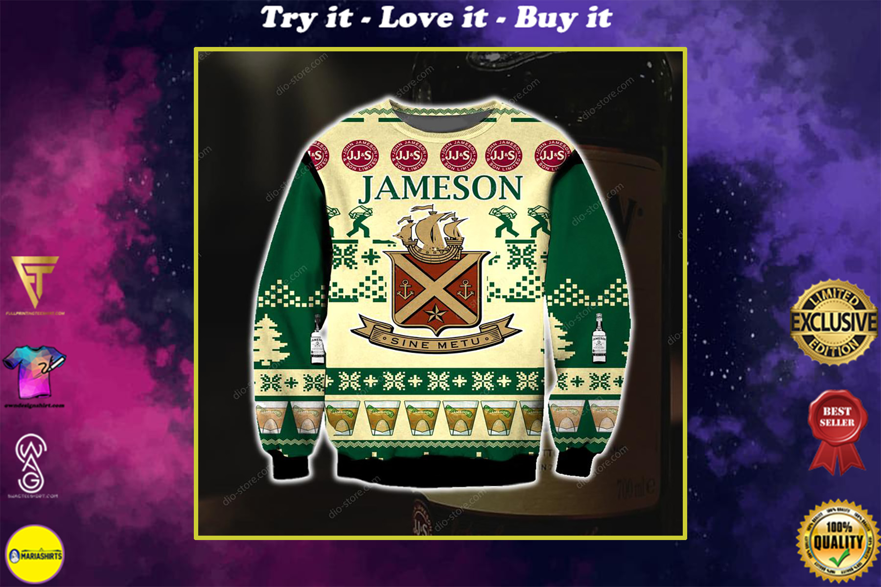 jameson irish whiskey full printing ugly christmas sweater
