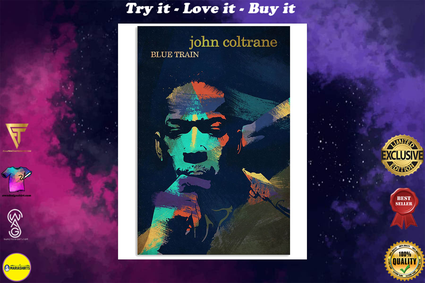 john coltrane blue train watercolor retro poster