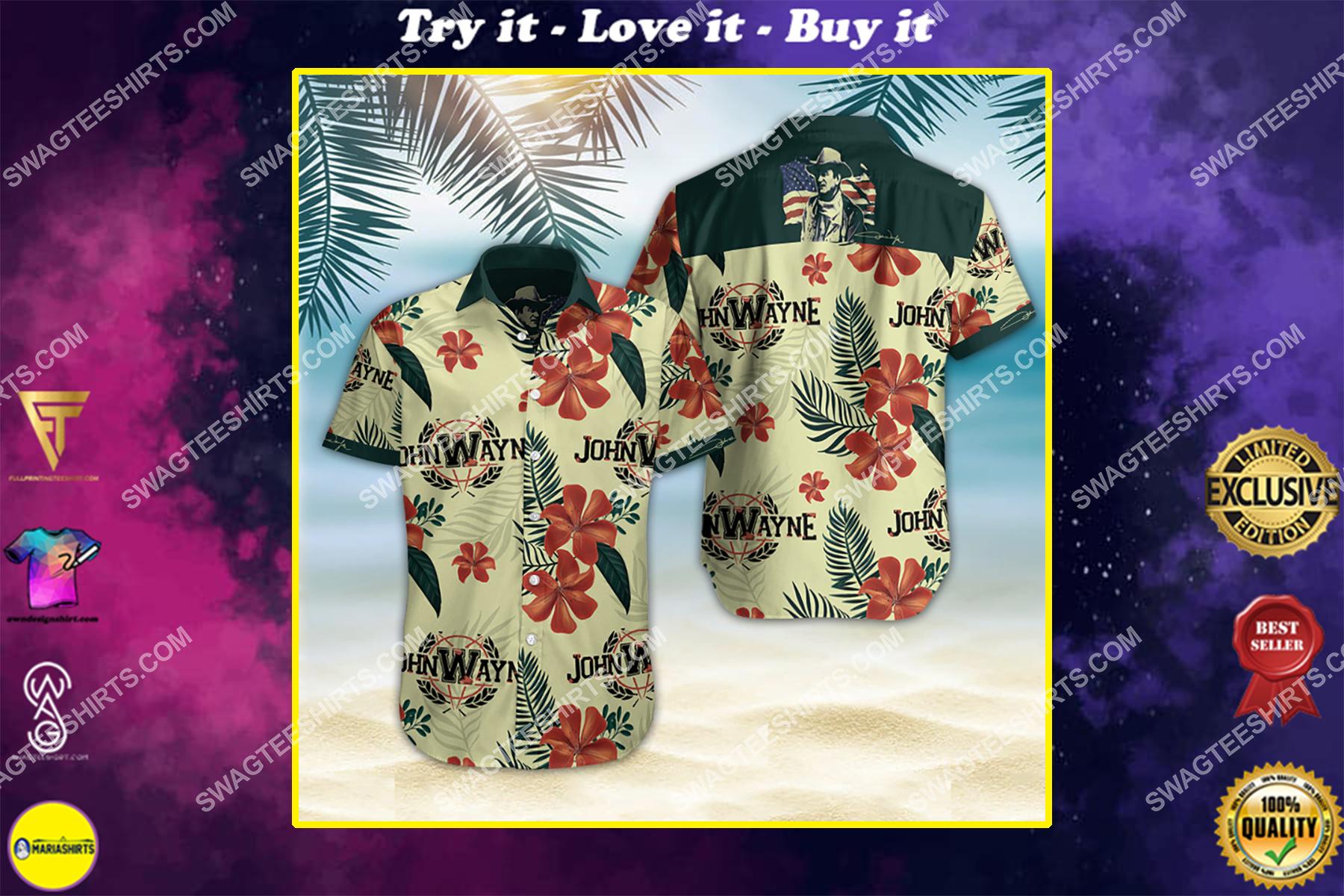 john wayne all over print hawaiian shirt