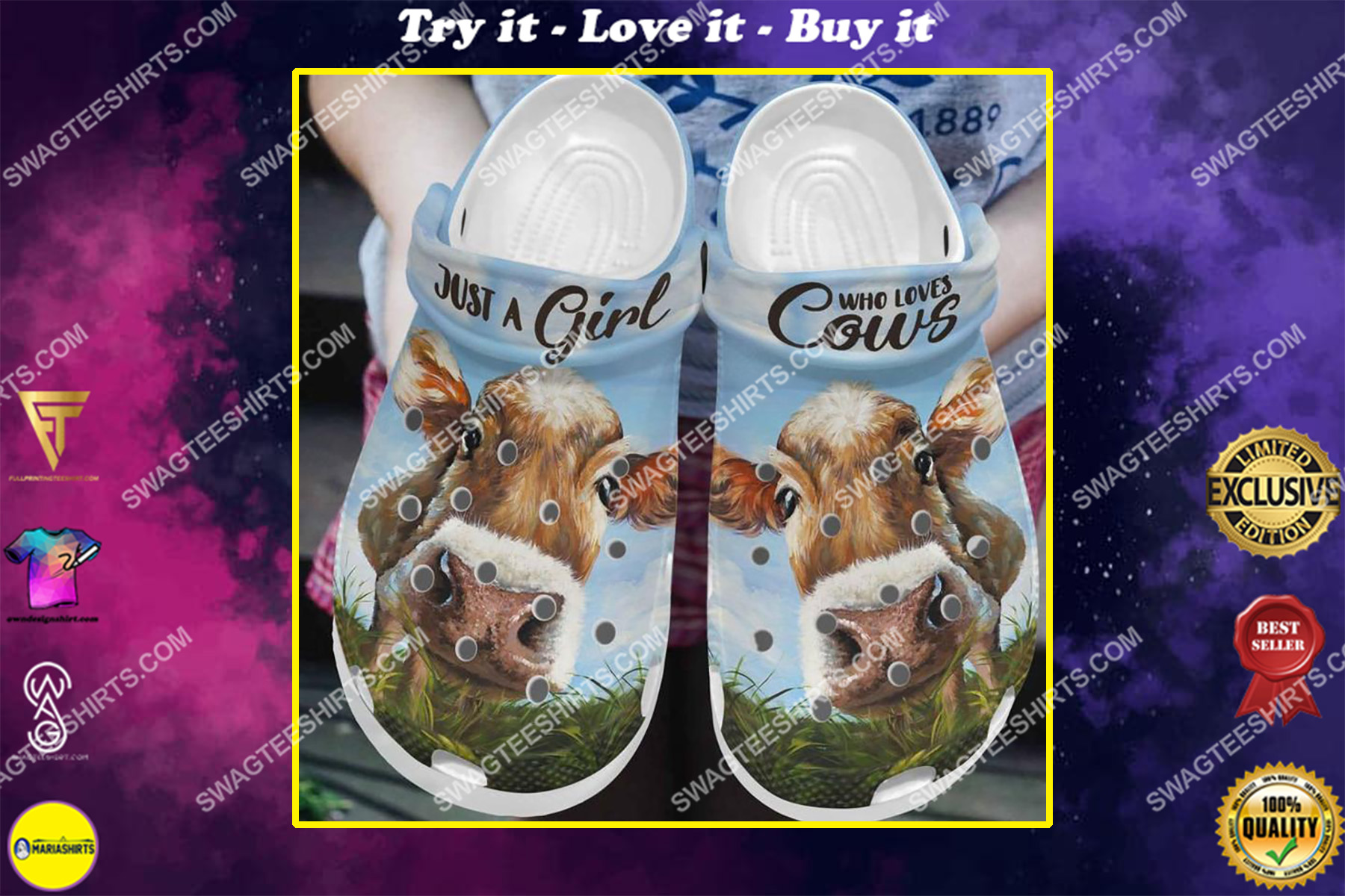 just a girl love who loves cows all over printed crocs crocband clog
