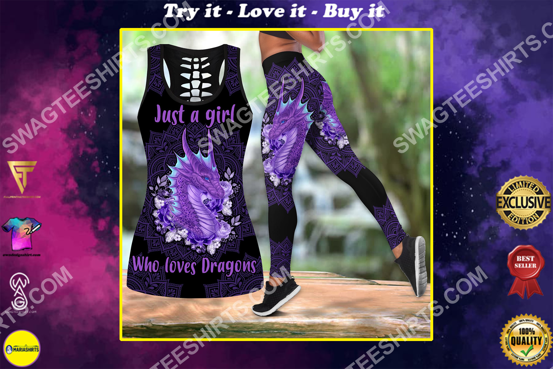 just a girl who loves dragons all over printed set sports outfit