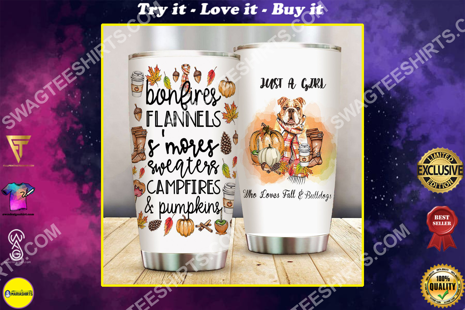 just a girl who loves fall and bulldogs all over printed stainless steel tumbler