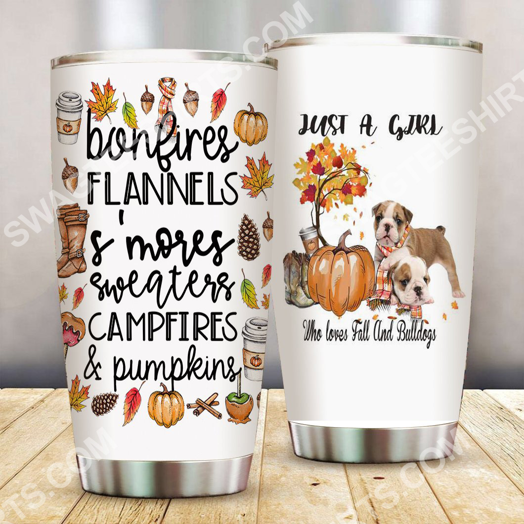 just a girl who loves fall and bulldogs pumpkin all over printed stainless steel tumbler 2(1)
