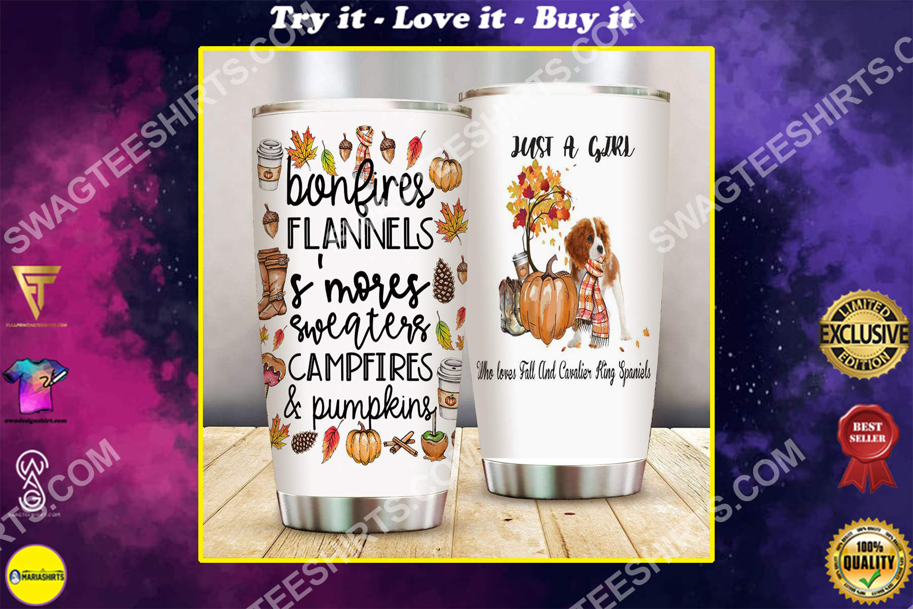 just a girl who loves fall and cavalier king spaniels all over printed stainless steel tumbler