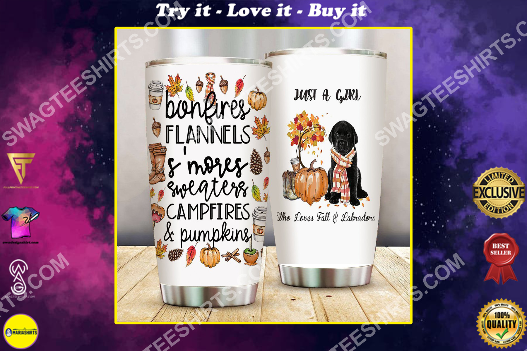 just a girl who loves fall and labradors all over printed stainless steel tumbler