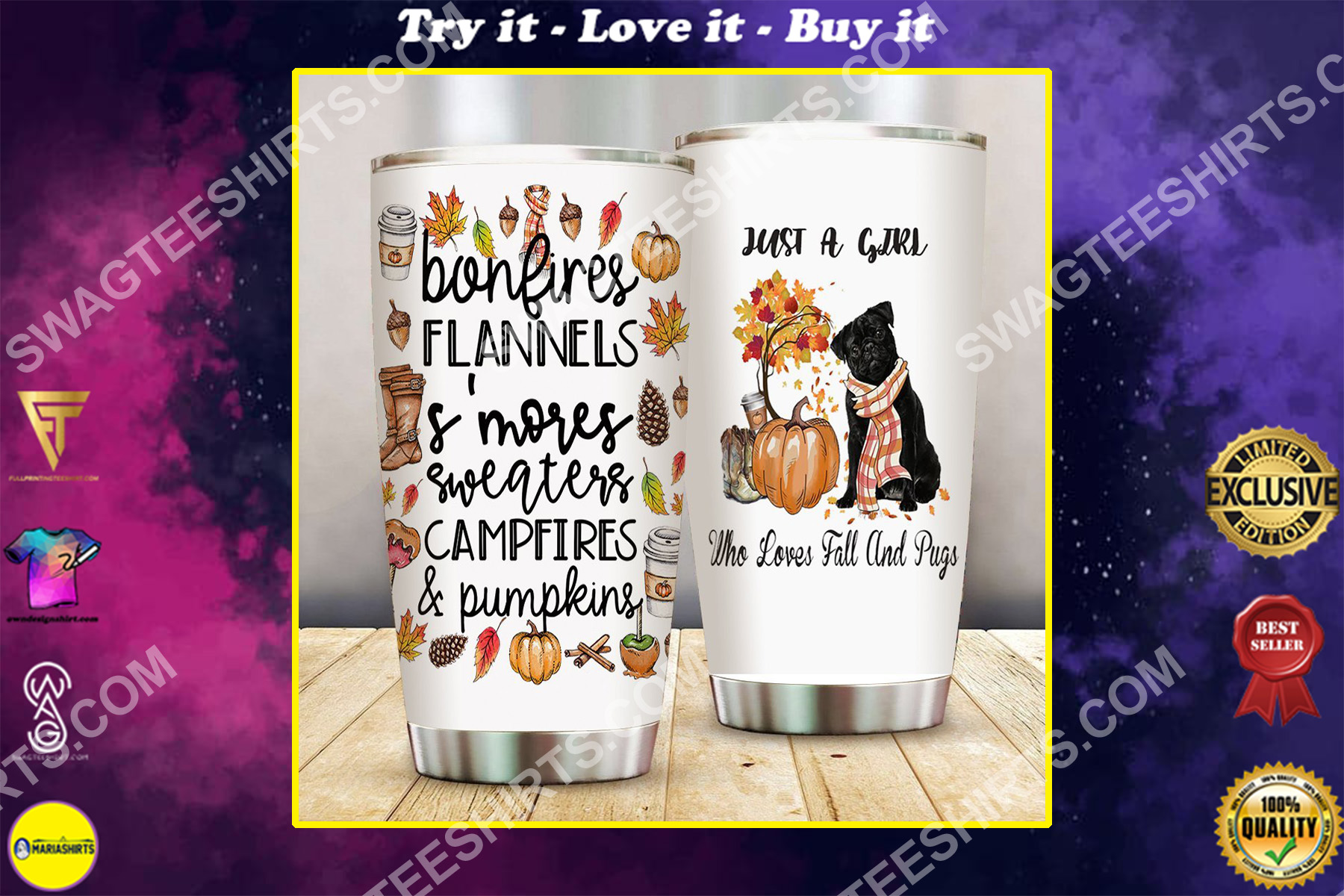 just a girl who loves fall and pug all over printed stainless steel tumbler
