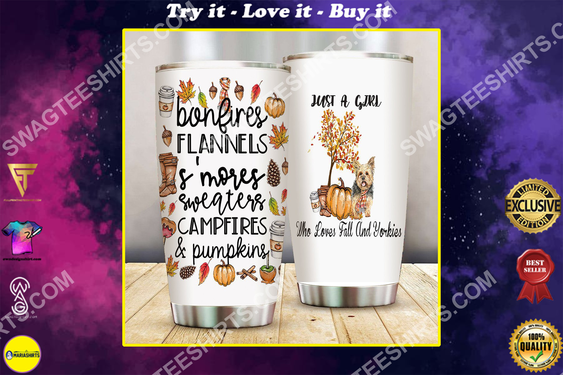 just a girl who loves fall and yorkies all over printed stainless steel tumbler