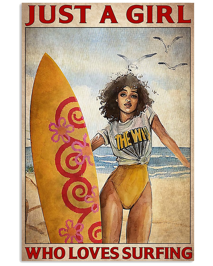just a girl who loves surfing vintage poster 1