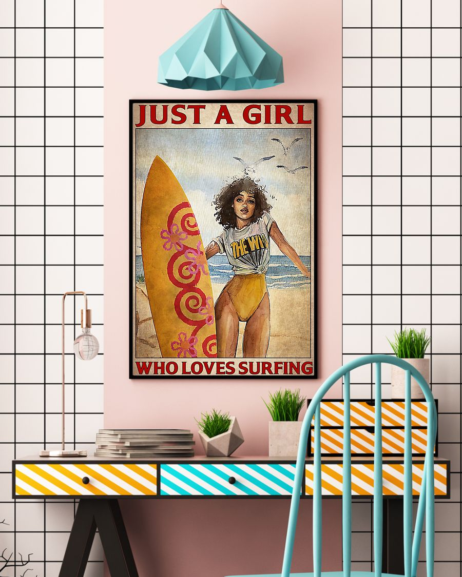 just a girl who loves surfing vintage poster 2