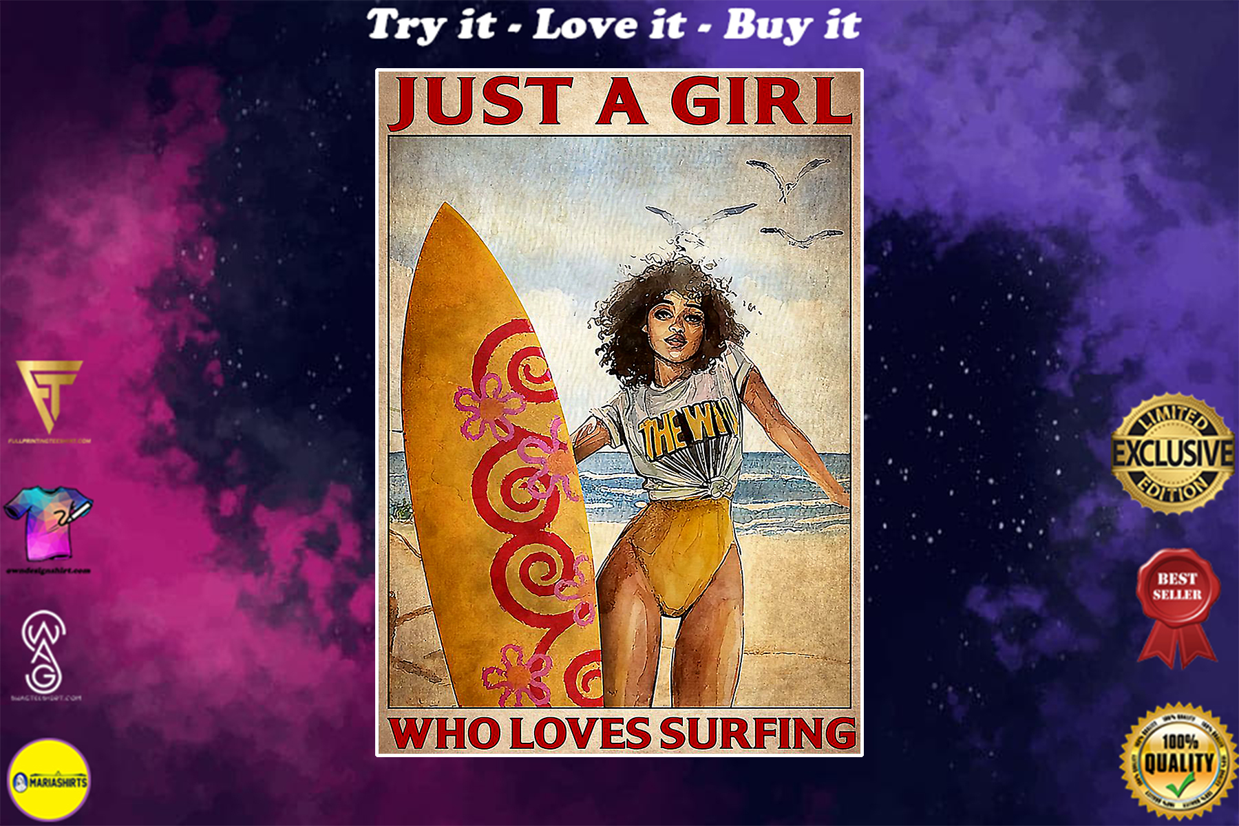 just a girl who loves surfing vintage poster