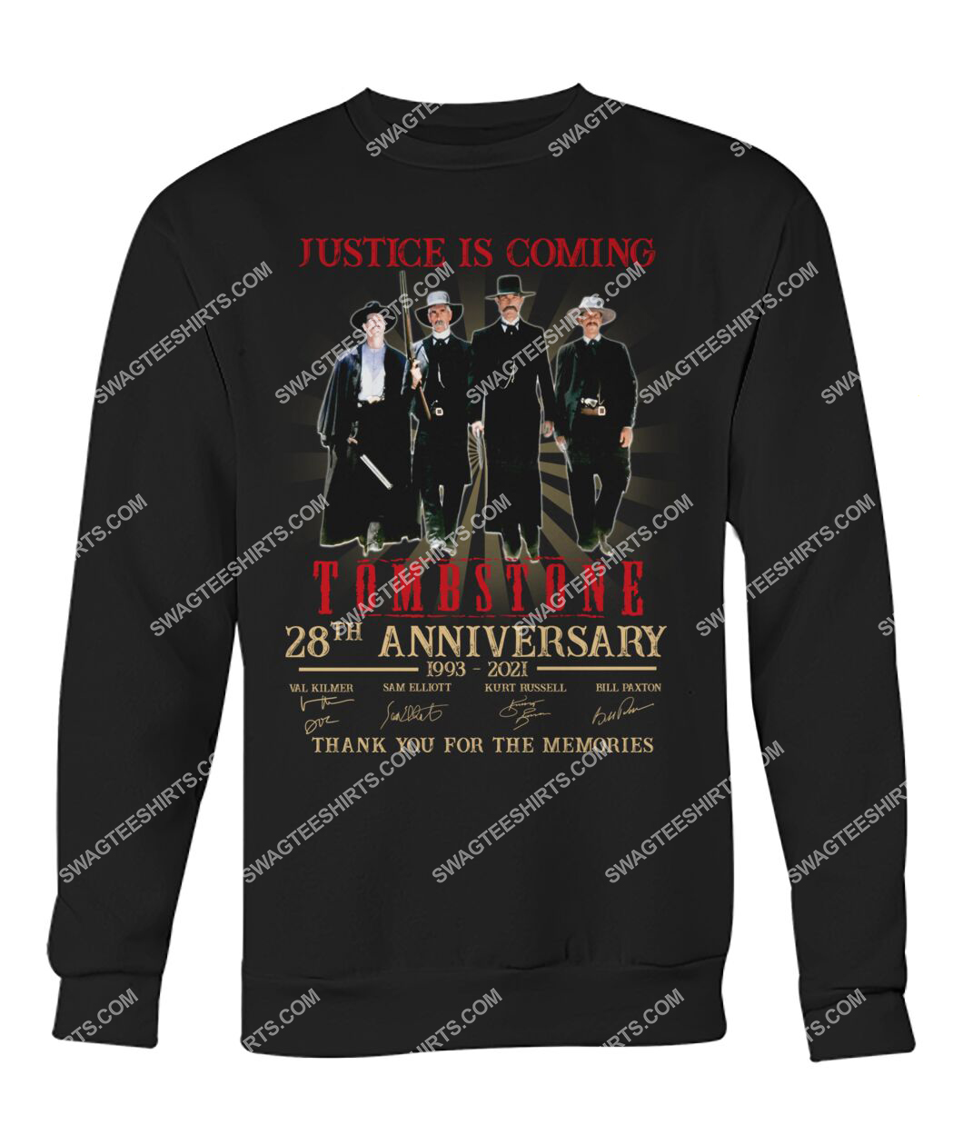 justice is coming tombstone 28th anniversary thank you for the memories sweatshirt 1