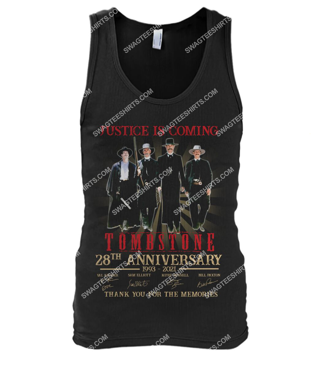justice is coming tombstone 28th anniversary thank you for the memories tank top 1