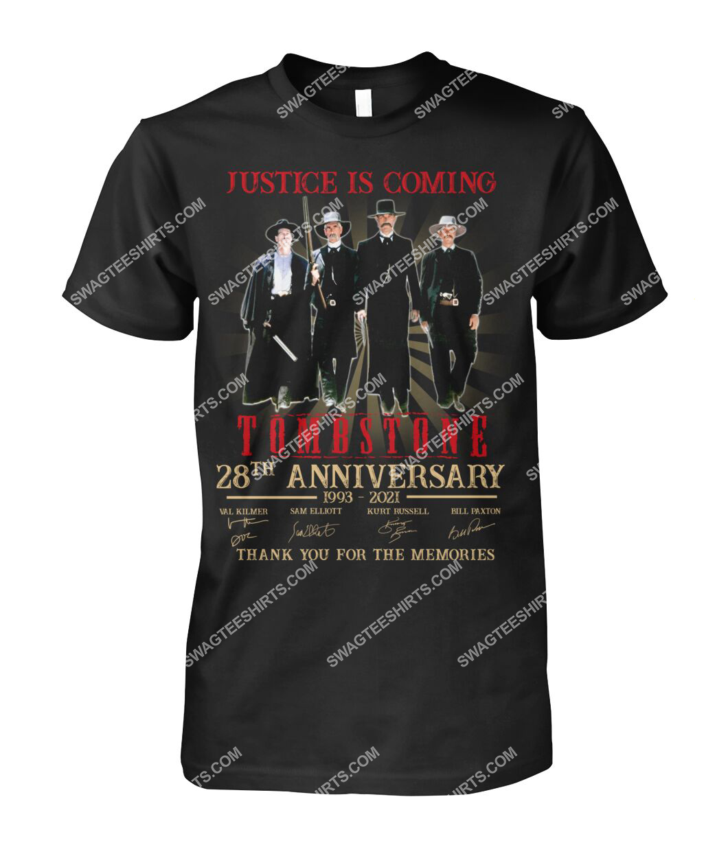justice is coming tombstone 28th anniversary thank you for the memories tshirt 1